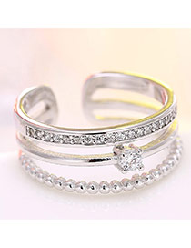 Fashion Silver Color Diamond Decorated Multilayer Opening Ring