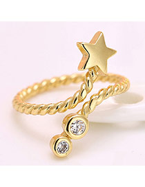 Personality Gold Color Five-pointed Star Decorated Simple Ring