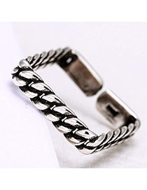 Personality Silver Color Chain Shape Decorated Square Ring