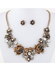 Vintage Gold Color Flower Shape Decorated Simple Jewelry Sets