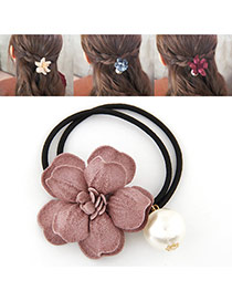 Fashion Pink Pearl&flower Decorated Double Layer Hair Band Hair Hoop