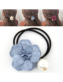 Fashion Blue Pearl&flower Decorated Double Layer Hair Band Hair Hoop