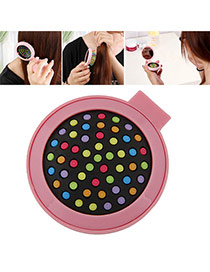 Fashion Pink Color Matching Decorated Round Shape Folding Comb