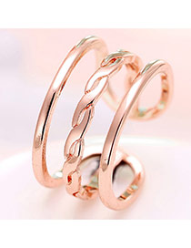 Elegant Rose Gold Pure Color Decorated Multi-layer Opening Ring