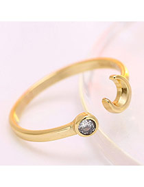 Personalized Gold Color Moon & Diamond Decorated Simple Opening Ring