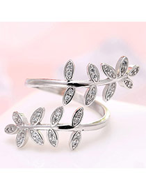 Personalized Silver Color Leaf Shape Decorated Simple Opening Ring