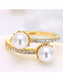 Personalized Gold Color Pearl&diamond Decorated Simple Opening Ring