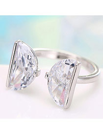 Personalized Silver Color Semicircle Shape Diamond Decorated Simple Opening Ring