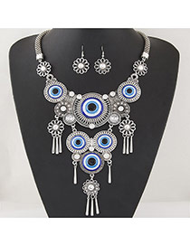 Retro Silver Color Round Shape Pendant Decorated Tassel Jewelry Sets