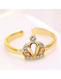 Elegant Gold Color Crown And Diamond Decorated Simple Ring