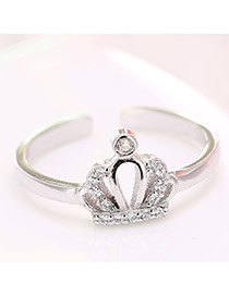 Elegant Silver Color Crown Decorated Simple Ring