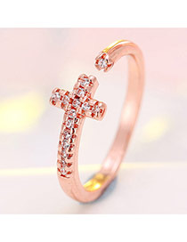Fashion Rose Gold Cross And Diamond Decorated Simple Opening Ring
