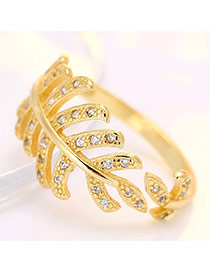 Fashion Gold Color Leaf Shape Design Opening Ring