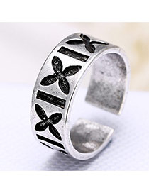 Personality Silver Color Flower Pattern Decorated Opening Ring