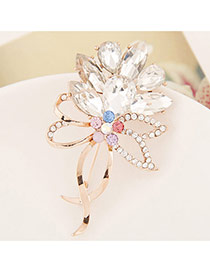 Elegant White Waterdrop Diamond Decorated Bowknot Shape Brooch