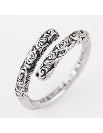 Vintage Anti-silver Flower Grain Decorated Simple Opening Ring