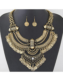 Exaggerated Antique Gold Coins Shape Tassel Pendant Decorated Geometric Shape Jewelry Sets