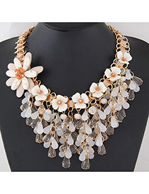 Trendy Beige Water Drop Shape Diamond&flower Decorated Short Chain Necklace