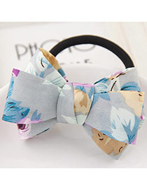 Sweet Light Blue Flower Pattern Bowknot Decorated Simple Hair Band
