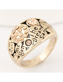 Vintage Antique Gold Diamond&letter Decorated Simple Ring
