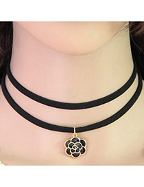 Temperament Black Flower Pendant Decorated Double Layer Necklace