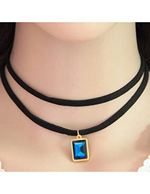 Temperament Sapphire Blue Square Gemstone Pendant Decorated Double Layer Necklace