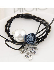 Elegant Blue Flower&pearl&leaf Decorated Double Layer Simple Hair Band