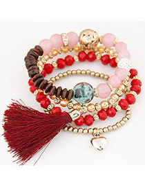 Trendy Red Hear Shape&tassel Pendant Decorated Multi-layer Simple Bracelet