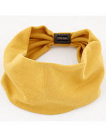 Fashion Yellow Pure Color Design Wide-brimmed Casual Hair Band