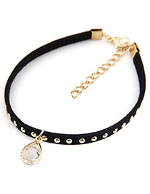Personality Black Oval Shape Pendant Decorated Rivat Woman Anklet