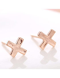 Lovely Rose Gold Cross Decorated Pure Color Earrings