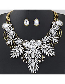 Luxury Gold Color+white Geometric Shape Diamond Decorated Double Layer Jewelry Sets