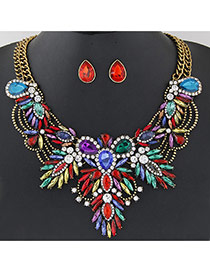 Luxury Gold Color+multi-color Geometric Shape Diamond Decorated Double Layer Jewelry Sets