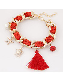 Bohemia Red Tortoise& Starfish&pearl Pendant Decorated Hand-woven Bracelet