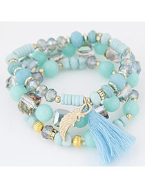 Bohemia Light Blue Sea Wave Shape&tassel Pendant Decorated Multilayer Bracelet