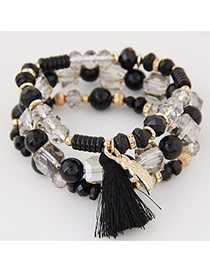 Bohemia Black Sea Wave Shape&tassel Pendant Decorated Multilayer Bracelet