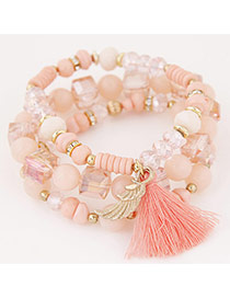 Bohemia Pink Sea Wave Shape&tassel Pendant Decorated Multilayer Bracelet