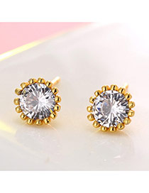 Fashion Gold Color Round Shape Diamond Decorated Sun Flower Design Earrings