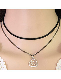 Temperament Black Heart Shape Pendant Decorated Double Layer Necklace