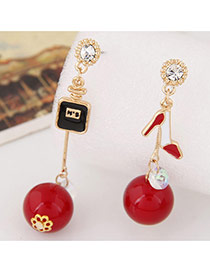 Sweet Red Square&high Heels Shape Decorated Dissymmetry Earring