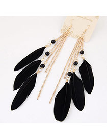 Bohemia Black Metal Chain&feather Tassel Pendant Decorated Simpe Earring