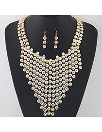 Exaggerated Gold Color Round Diamond Tassel Decorated Hollow Out Collar Necklace