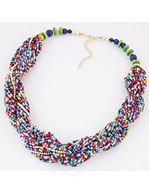 Bohemia Multi-color Beads Twist Decorated Simple Short Necklace
