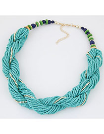 Bohemia Blue Beads Twist Decorated Simple Short Necklace