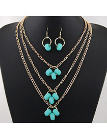 Fashion Blue Hollow Out Round Shape Pendant Decorated Multi-layer Simple Jewelry Set
