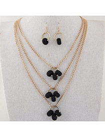 Fashion Black Hollow Out Round Shape Pendant Decorated Multi-layer Simple Jewelry Set