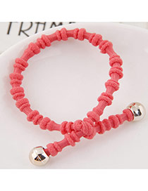 Elegant Watermelon Red Pure Color Design Bamboo Joint Shape Simple Hair Band