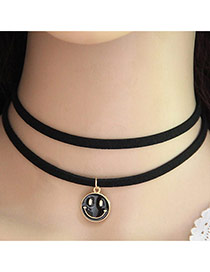 Trendy Black Smiling Face Pendant Decorated Double Layer Necklace