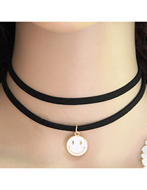 Trendy White Smiling Face Pendant Decorated Double Layer Necklace