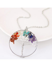 Fashion Multi-color Tree Shape Pendant Decorated Simple Necklace